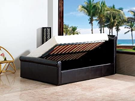 New Carolina 4ft6 Black Double Modern Side Gas Lift Up Deep Storage Ottoman Bed PU Premium Leather