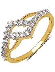 Silver Selection 1.20 Grams White Cubic Zirconia Gold Plated Brass Ring For Women Size 7