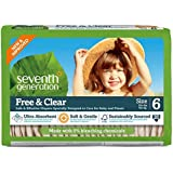 Seventh Generation Free and Clear, Unbleached Baby Diapers, Size 6, 100 Count, Packaging May Vary