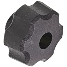 "DimcoGray Black Thermoplastic Fluted Torque Knob Female, Thru Hole Brass Insert: 5/16-18"" Thread x 5/8"" Depth, 1-1/2"" Diameter x 1"" Height x 3/4"" Hub Diameter x 3/8 Hub Length (Pack of 10)"