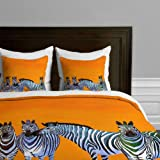 DENY Designs Clara Nilles Candy Stripe Zebras Duvet Cover, Twin