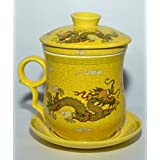 Odishabazaar Teaware Yellow Porcelain Bone Tea Cups Tea Mug (With Lid) Yellow Dragon