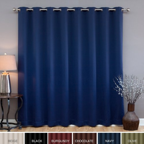 "Wide Width Grommet Top Thermal Blackout Curtain 100""W X 84""L Panel - Navy - BWW"