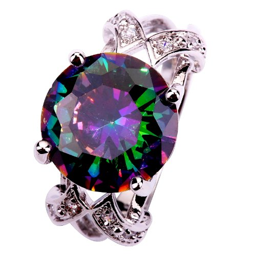 Yazilind Women'S Ring With Round Cut Big Stone Rainbow Purple Cubic Zirconia Cz Silver Plated Us Size 6 Wedding Party Gift