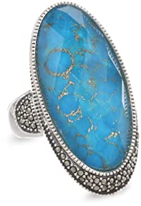 """Judith Jack """"It's Time"""" Sterling Silver, Marcasite and Turquoise Oval Ring from Judith Jack"""