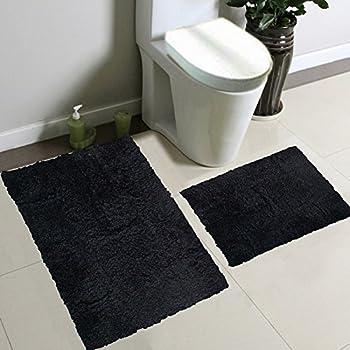 2pc Fancy Collection Bath Set Solid Black Super Soft New