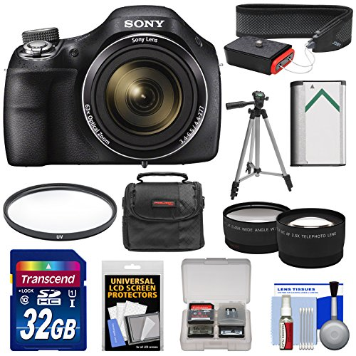 Sony Cyber-Shot DSC-H400 Digital Camera with 32GB Card + Case + Battery + Tripod + Strap + Tele/Wide Lens Kit (Sony H300 Point And Shoot Camera compare prices)