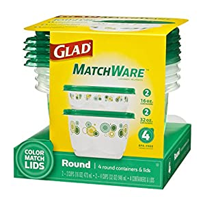 Glad Food Storage Containers, Matchware Round, 8 Pieces (Pack of 4)
