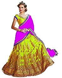 DesiButik's Wedding Wear Lavishing Parrot Green Net Lehenga