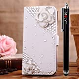 M LV HTC One X OneX Leather Diamond Bling crystal Folio Support Smart Case Cover With Card Holder & Magnetic Flip Horizontals - Greenish Lily Flower