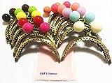 R&K's Company かわいい 大玉 パステルカラー アンティーク風 がま口 口金 付け替え カラフル 6色セット + クリーニングクロス付き お財布 手芸用品 幅 8.5cm S180 (12色セット)