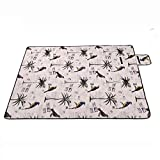 Multifunktions-Klapp-Outdoor-Picknick-Matte-Camping-Rug-Beach-Mat-Travel-Playmat-Vintage-Birds-200cm-x-148cm