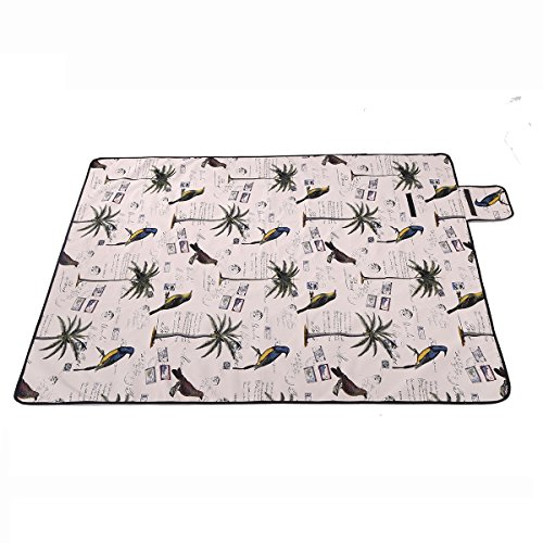 Multifunktions-Klapp-Outdoor-Picknick-Matte-Camping-Rug-Beach-Mat-Travel-Playmat-Vintage-Birds-200cm-x-148cm