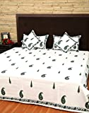 King Size Bedspreads Cotton White Hand Block Printed Paisley Double Bedsheets