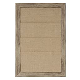 DesignOvation 209372 Beatrice Framed Burlap Pockets Wall Organization Board, Medium,18x27