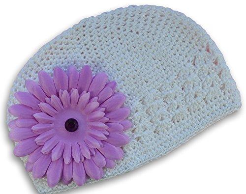 Baby Girls Funny Girl Designs Gerber Daisy Crochet Hat (White Hat / Lavender Flower)
