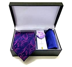 Classique Three Pieces Combo Gift Set Of Gentleman Necktie With Coat/Jacket/Shirt Flower & Handkerchief/Pocket Square In Leather Finish Gift Box Good For Gifting Purpose