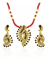 Sia Art Pearl Jewellery Set For Women (Golden And Red) (AZ1914)