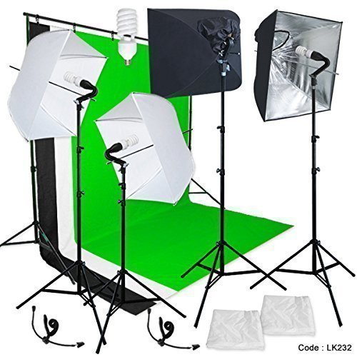 Linco Studio Lighting Light Video Photo Softbox Photography Kit Backdrop Muslin