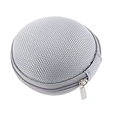 Magideal Round Pocket Carry Storage Collection Pouch Case for Headphone Silver Gray