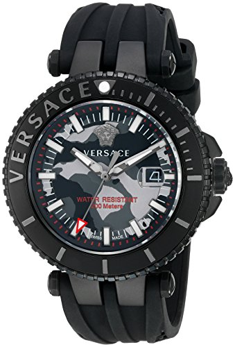 Versace-Mens-V-Race-Swiss-Quartz-Stainless-Steel-and-Silicone-Casual-Watch-ColorBlack-Model-VAK050016