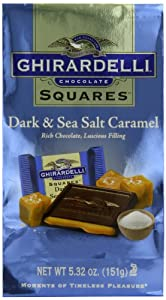 Ghirardelli Dark and Caramel Sea Salt, Chocolate Squares, 5.32-Ounce Bag (Pack of 4)