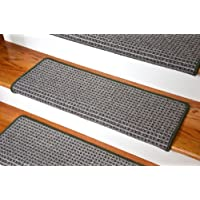 Dean Modern DIY Peel and Stick Bullnose Wraparound Non-Skid Carpet Stair Treads - Chameleon Green 30