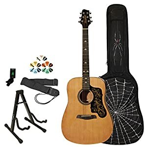 Sawtooth Acoustic Dreadnought Guitar with Black Pickguard and Custom Graphic - Includes: Accessories, Spider Graphic Gig Bag & Lesson from GoDpsMusic