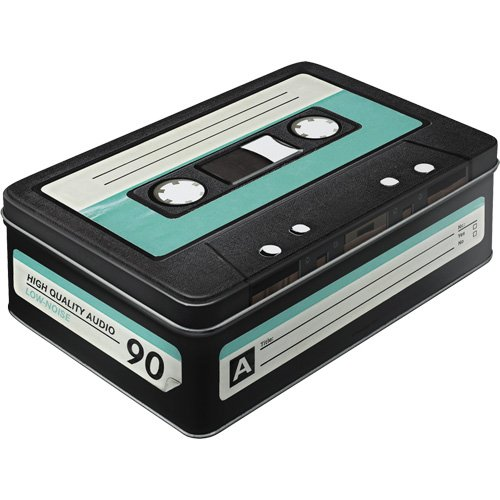 Retro Cassette Storage Tin. Food safe and sturdy. Ideal for storing your old cassette collection.