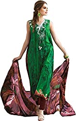 Lebaas Green and Brown French Crape Designer Straight Suit (With Discount and Sale Offer)