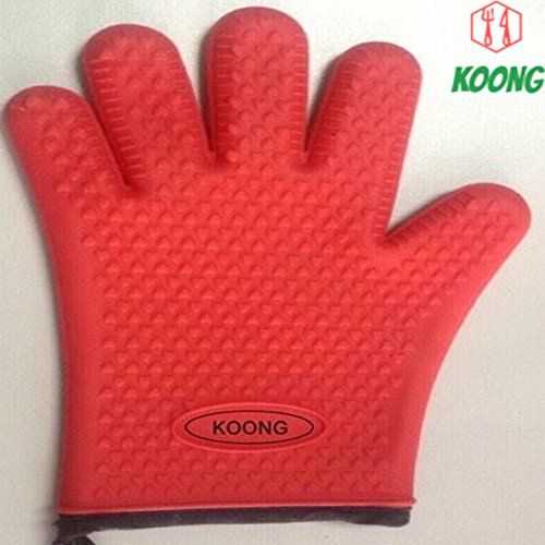 1 PC Silicone Oven Heat Resistant Cotton Glove Bbq Gloves Kitchen Mitts Cooking Grill Baking Pot Holder Barbecue Grip Mitt Non Slip-CookhouseKoong-Gloves red (Silicone Bbq Gloves Black compare prices)