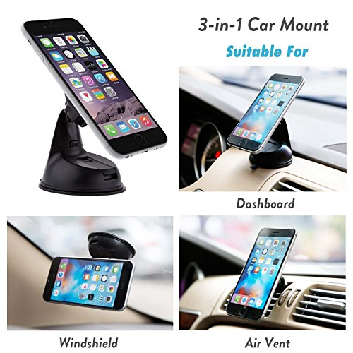 Encust Universal 3 in 1 Dashboard/Windshield/Air Vent Magnetic Car Mount Phone Holder for iPhone 7 SE 6/Plus 5s/ 5c/5, Samsung Galaxy Edge S7 S6, HTC Nexus 6 & Other Cell Phones (Lifetime Warranty) (Phones And Accesories compare prices)