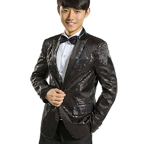 MYS Men's Gangnam Style Bling Sequins Party Tuxedo Suit and Pants Set Black Size 42R (Fat Daddy Button compare prices)