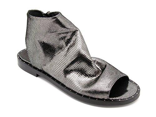 Carmens Padova sandali donna con gambale in pelle acciaio sfoderata, chiusura zip, suola di gomma (EU 39)