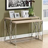Monarch Reclaimed-Look/Chrome Metal 2-Piece Console Tables, Large, Natural