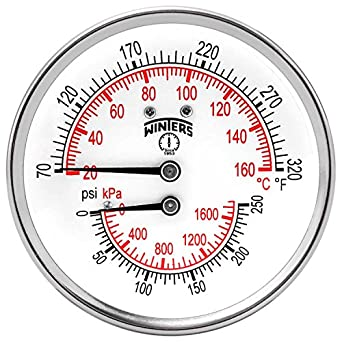 "Winters TTD Series Steel Dual Scale Tridicator Thermometer with 2"" Stem, 0-250psi/kpa, 3"" Dial Display, ±3-2-3% Accuracy, 1/2"" NPT Back Mount, 70-320 Deg F/C"