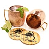 Moscow Mule Mugs - Nozdrovia - 2 Pack - 100% Solid Copper, 16 oz Capacity, Hammered Finish, Classic