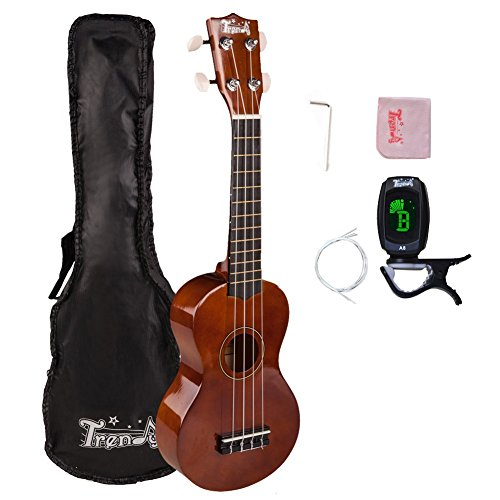 Trendy Traditional and Painted Economy Hawaiian Soprano Ukulele Starter Pack, 21