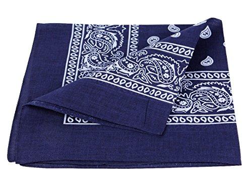 Bandana blu scuro paisley multifunzione classica BA-97 di colori diversi foulard scialle collo rocker biker motociclista motorcycle pirata accessorio hip hop cappellino cowboy bracciale