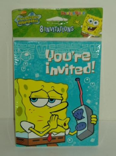 Spongebob Squarepants Nickelodeon Party Invitations 8 count