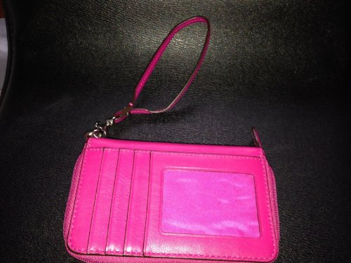 Coach   Coach Campbell Leather Zip Around Zippy Wallet Fuschia Hot Pink Wristlet Case F50070