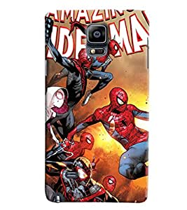 Blue Throat Spiderman Pattern Printed Designer Back Cover/ Case For Samsung Galaxy Note 4