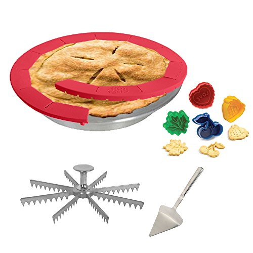 Kitchen Gems Pie Baking and Serving Utensil Gift Set - Includes Pie Pan with Pie Cutter and Other Essential Items for Baking and Serving Pie
