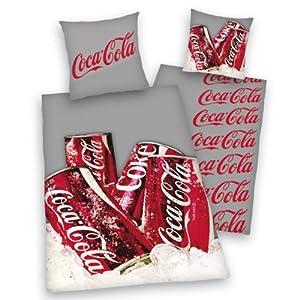 Herding 449045077 coca cola canette parure de lit en linon taie d 39 oreiller 70 x 90 cm housse - Housse de couette coca cola ...