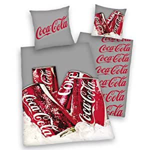 herding 449045077 coca cola canette parure de lit en linon taie d 39 oreiller 70 x 90 cm housse. Black Bedroom Furniture Sets. Home Design Ideas