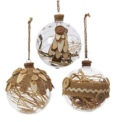 Rustic Style Clear Glass Ball Christmas Ornaments with Burlap and Button Accents Set of 12 by KSA