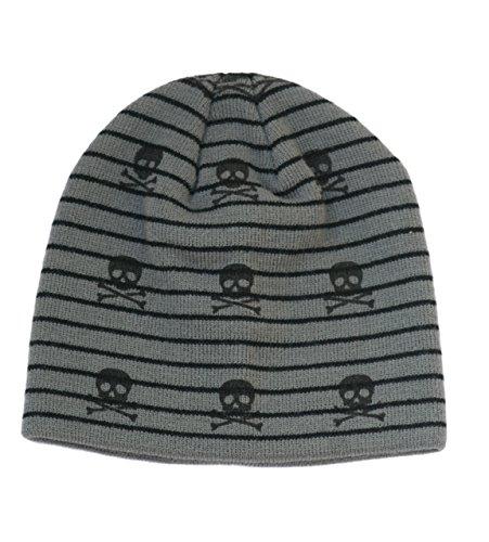 Skull Beanie Baby Kids Hat (XS, black and grey no visor)