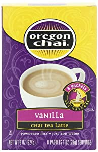 Oregon Chai Vanilla Chai Tea Latte Powdered Mix, 8-Count Envelopes (Pack of 6)