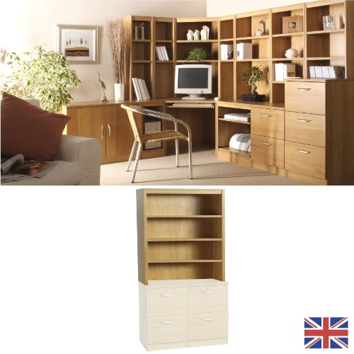 Home Office Furniture - Fully Assembled - Overshelf- Hutch - Warm Oak - Wood Effect...WE ALSO MAKE: computer workstation trolley bookcase shelf book shelves shelving accessories IDEAL FOR: setting up starting running small business