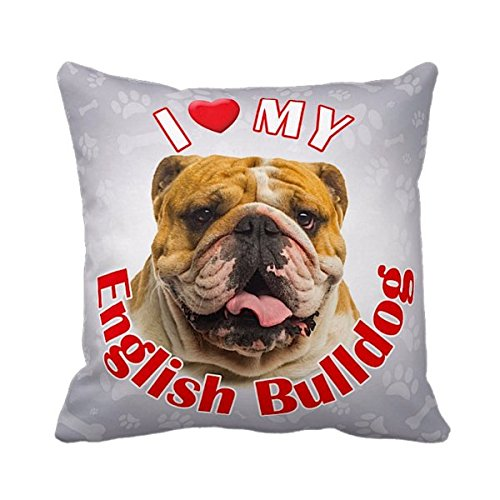 iLeesh iLove My English Bulldog Throw Pillow (English Bulldog Throw Pillows compare prices)